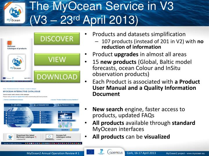The MyOcean Service in V3