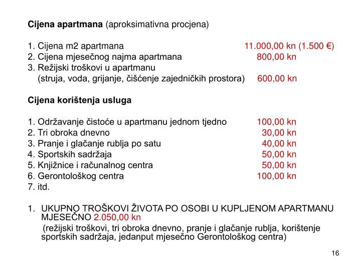 Cijena apartmana