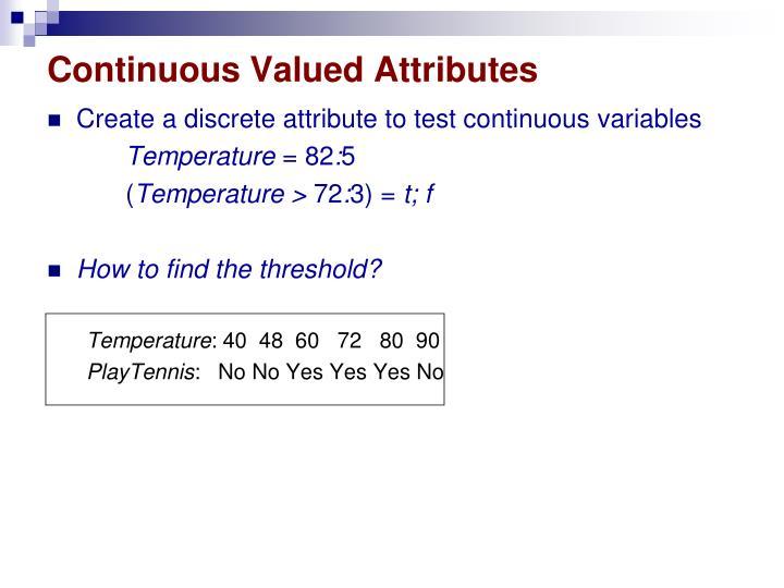 Continuous Valued Attributes