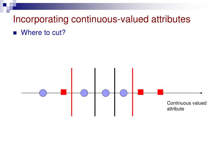 Incorporating continuous-valued attributes
