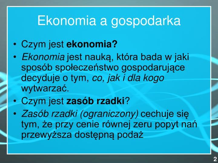 Ekonomia a gospodarka