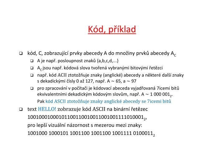 Kód, příklad
