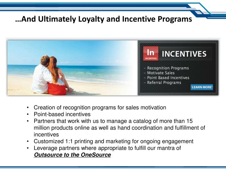 …And Ultimately Loyalty and Incentive Programs