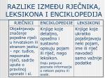 razlike izme u rje nika leksikona i enciklopedija