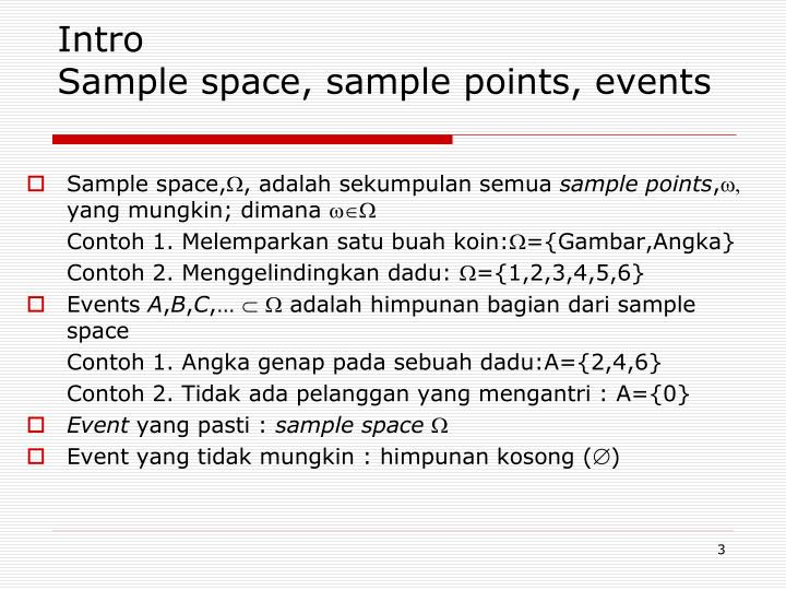 Intro sample space sample points events