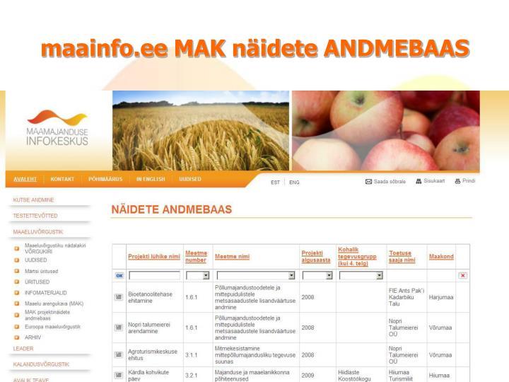 maainfo.ee MAK näidete ANDMEBAAS