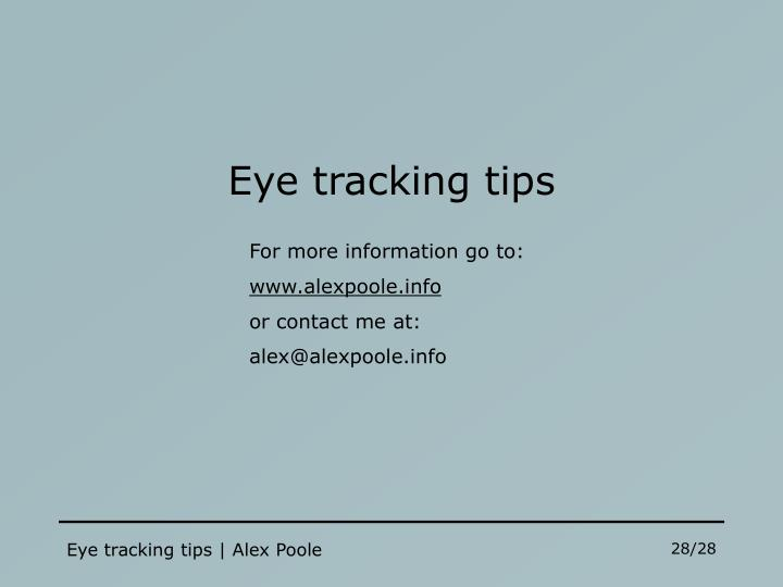 Eye tracking tips