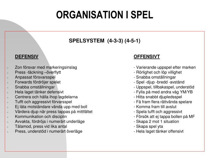ORGANISATION I SPEL