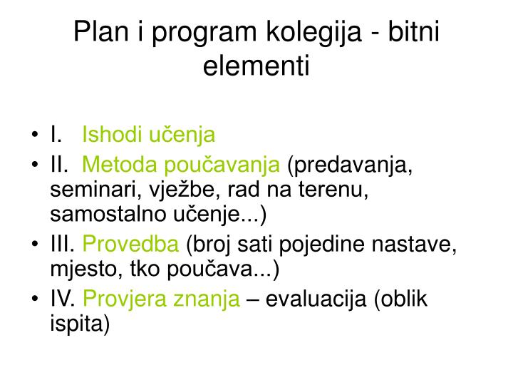 Plan i program kolegija - bitni elementi