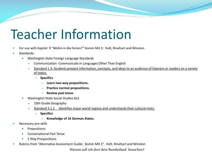 Teacher Information