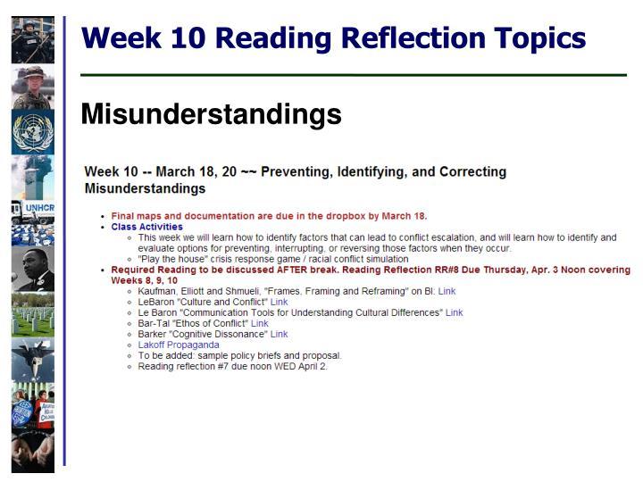 Week 10 Reading Reflection Topics