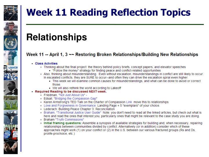 Week 11 Reading Reflection Topics
