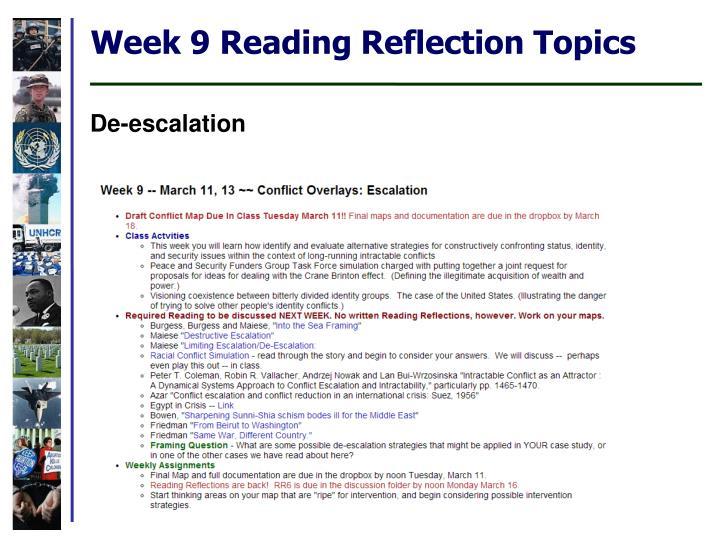Week 9 Reading Reflection Topics
