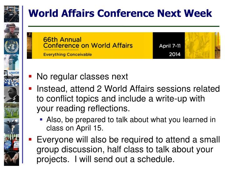 World Affairs Conference Next Week