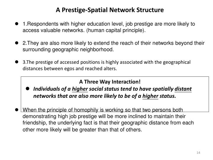 A Prestige-Spatial Network Structure