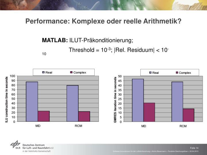 Performance: Komplexe oder reelle Arithmetik?