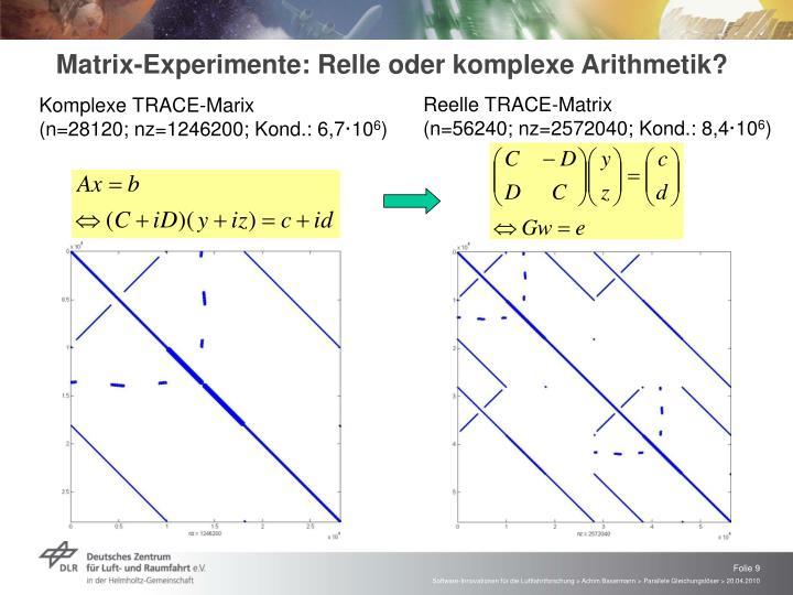 Matrix-Experimente: Relle oder komplexe Arithmetik?