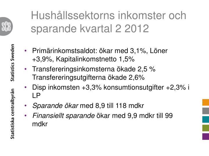 Hushållssektorns inkomster och sparande kvartal 2 2012