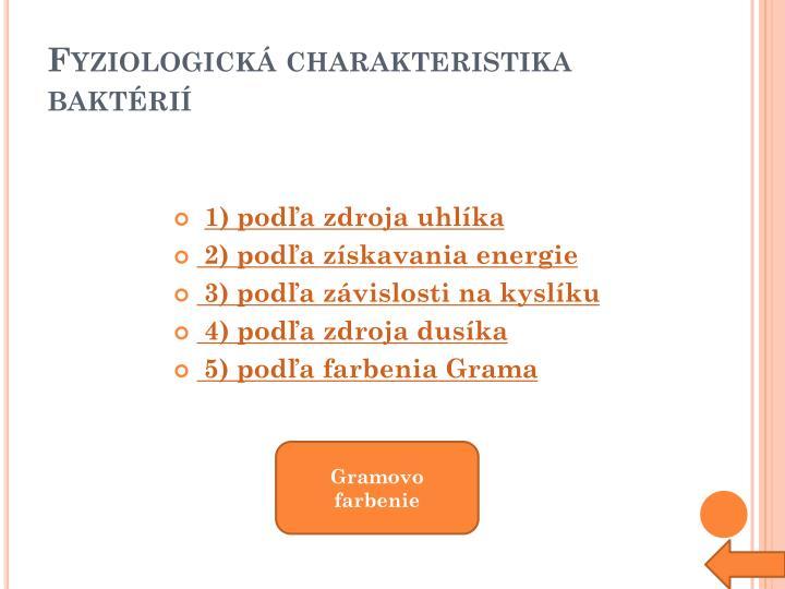 Fyziologická charakteristika baktérií