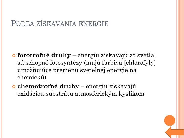 Podľa získavania energie