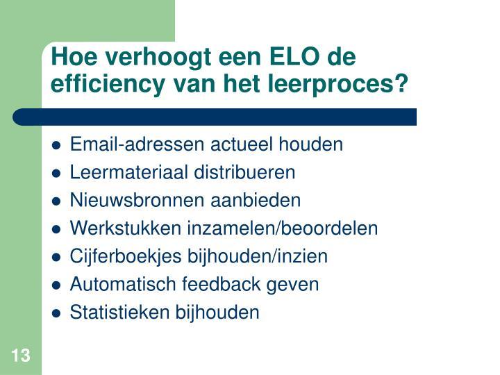 Hoe verhoogt een ELO de efficiency van het leerproces?