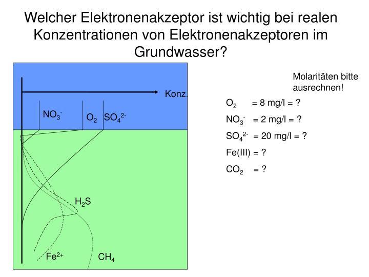 Welcher Elektronenakzeptor ist wichtig bei realen Konzentrationen von Elektronenakzeptoren im Grundwasser?