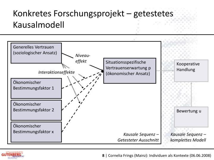 Konkretes Forschungsprojekt – getestetes Kausalmodell
