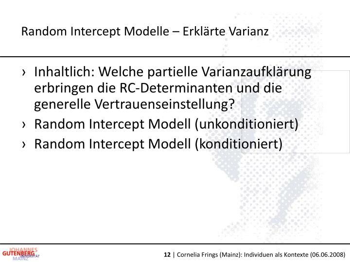 Random Intercept Modelle – Erklärte Varianz