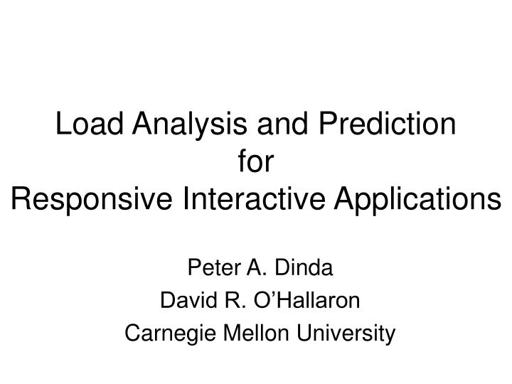 Load Analysis and Prediction
