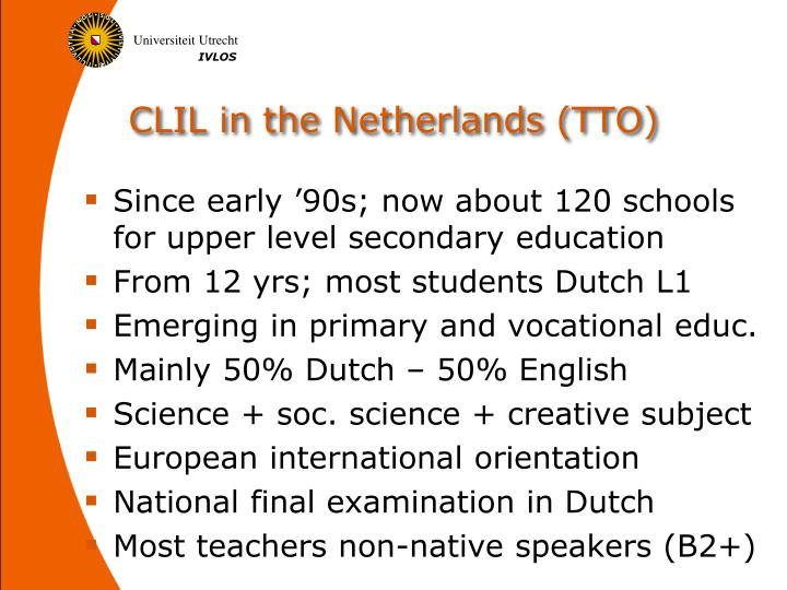 CLIL in the Netherlands (TTO)