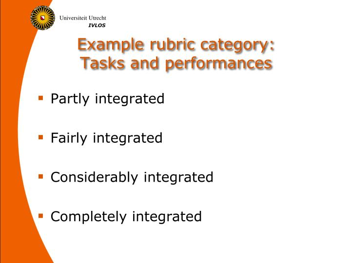 Example rubric category: