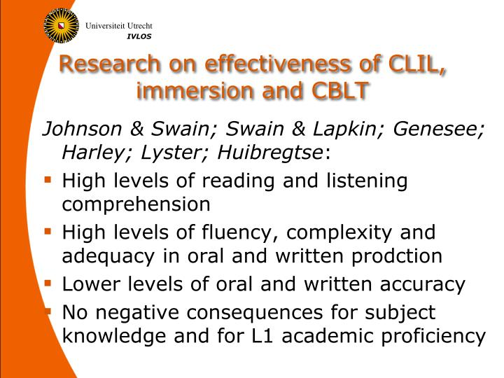 Research on effectiveness of CLIL, immersion and CBLT