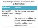 five challenges and ways of overcoming them 2 technology