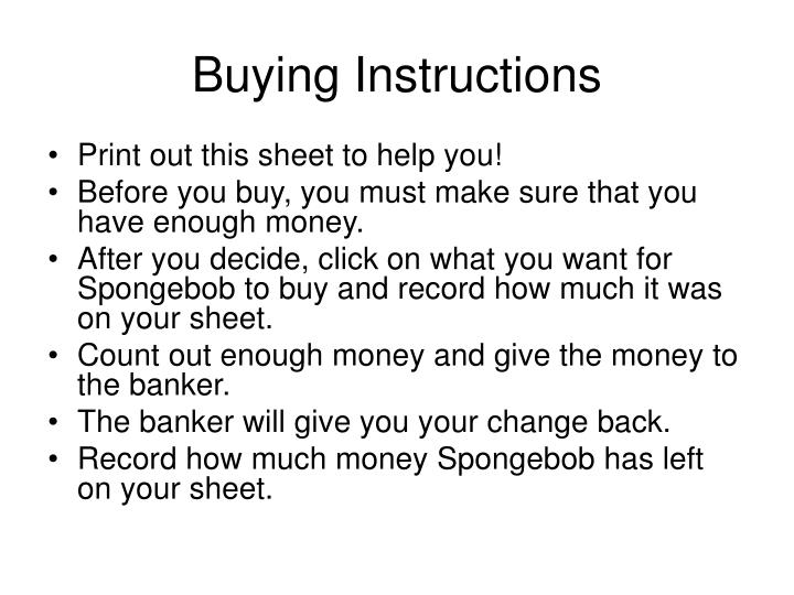 Buying Instructions