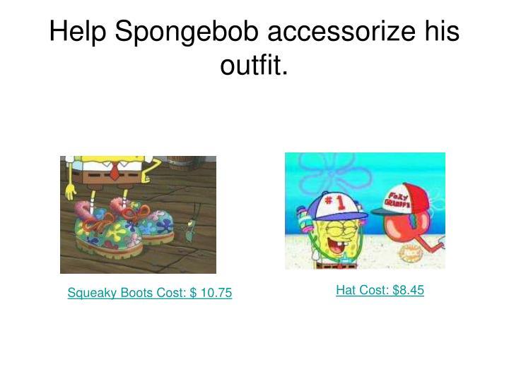 Help Spongebob accessorize his outfit.