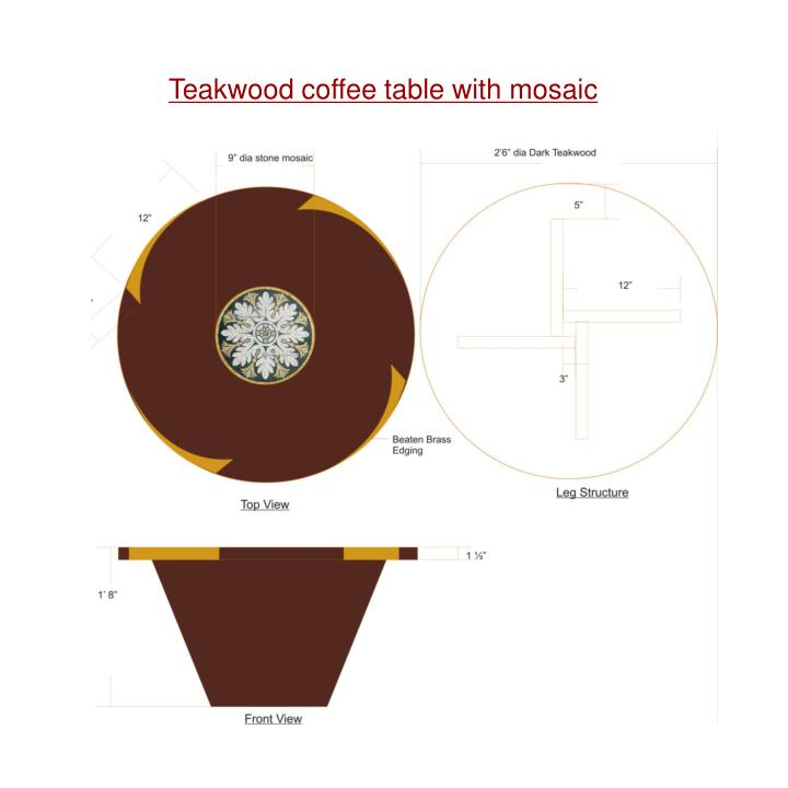 Teakwood coffee table with mosaic