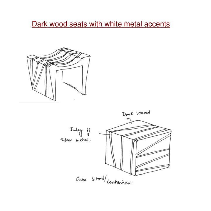 Dark wood seats with white metal accents