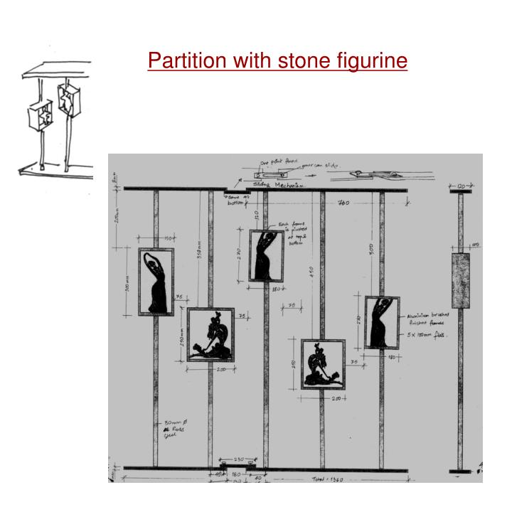 Partition with stone figurine