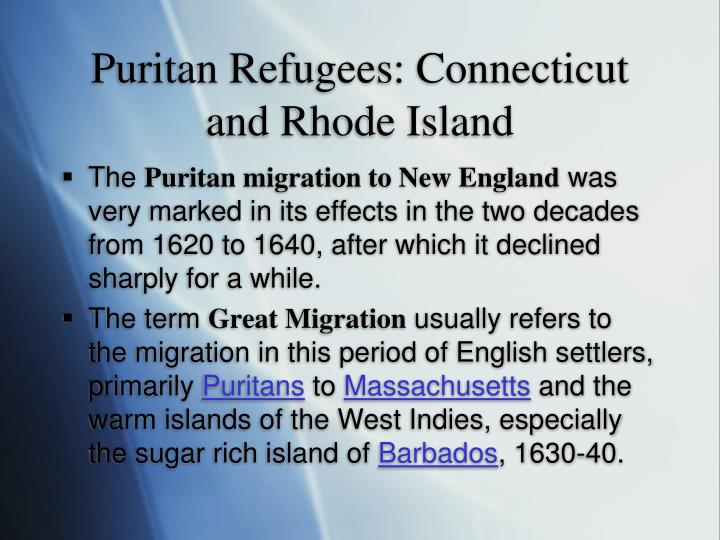 Puritan Refugees: Connecticut and Rhode Island