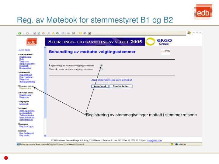 Reg. av Møtebok for stemmestyret B1 og B2