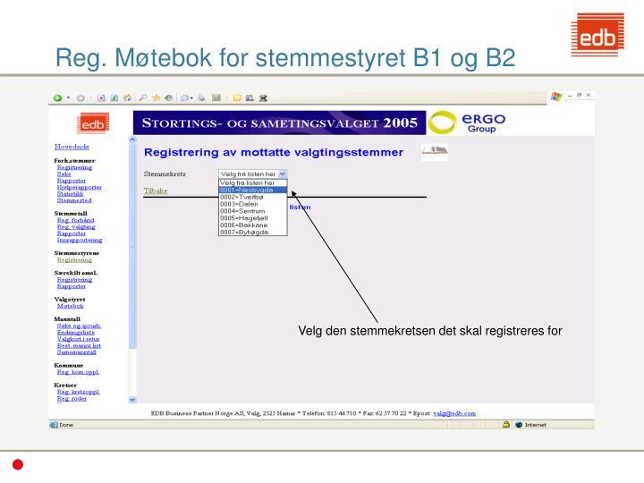 Reg. Møtebok for stemmestyret B1 og B2