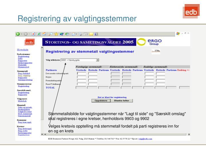 Registrering av valgtingsstemmer