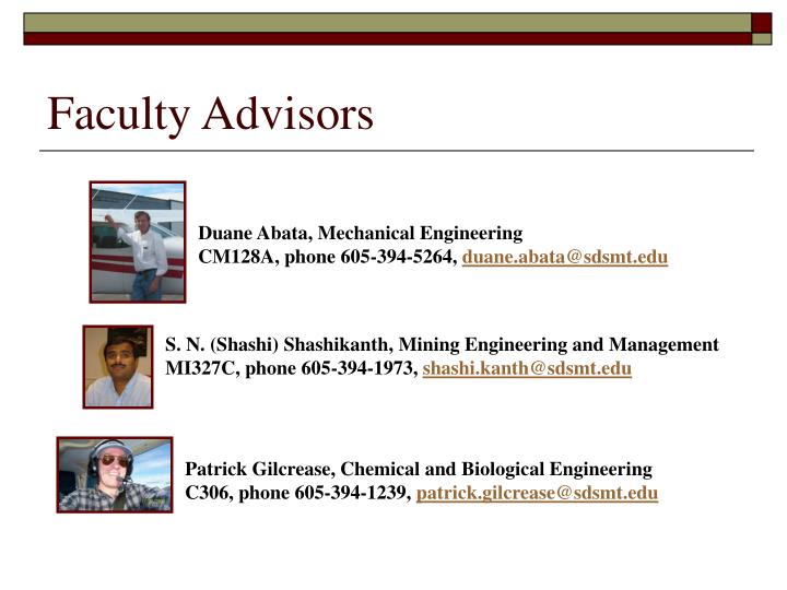 Faculty Advisors
