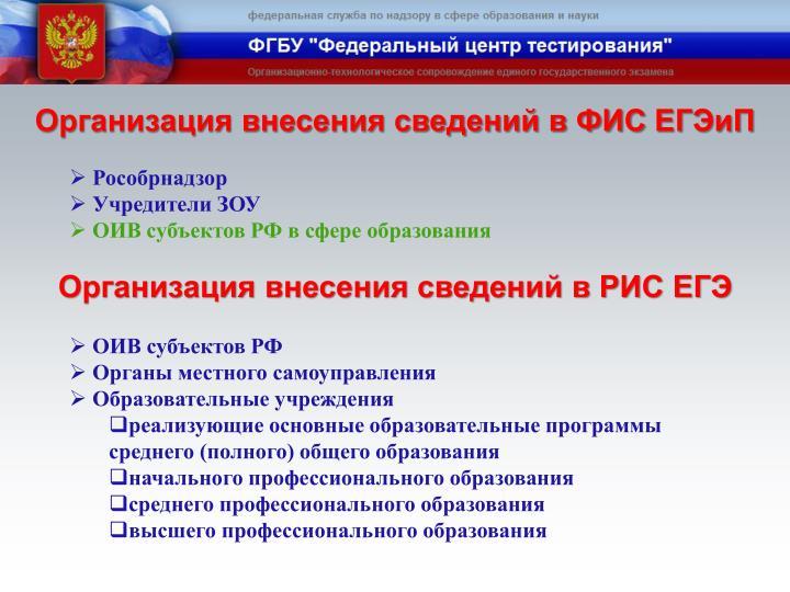 Организация внесения сведений в ФИС
