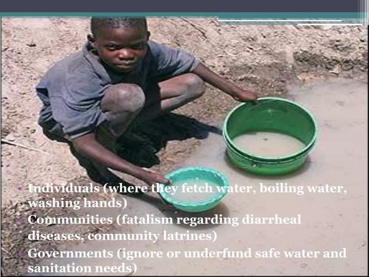 Individuals (where they fetch water, boiling water, washing hands)