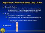 application binary reflected gray codes