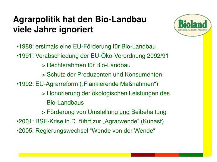 Agrarpolitik hat den Bio-Landbau