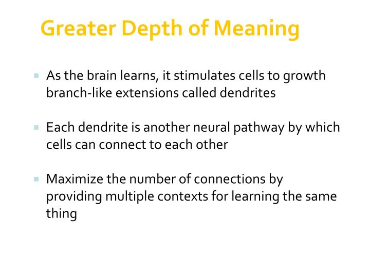 Greater Depth of Meaning