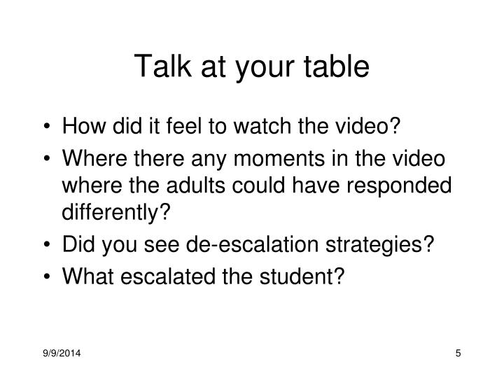 Talk at your table