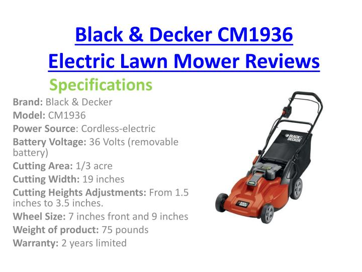 Black decker cm1936 electric lawn mower reviews